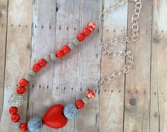 Necklace, Red, grey, silver, diamond ball, clay bead, wooden beads, heart, chain, birthday gift, christmas, Valentine's Day, gift.