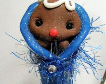 Baby Boy Gingerbread blankie Clay doll ornament by Amber Matthies