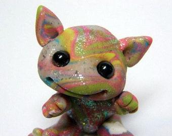 "Kawaii Rainbow Baby Clay Dragon Trollfling Troll doll""Maja"" by Amber Matthies"