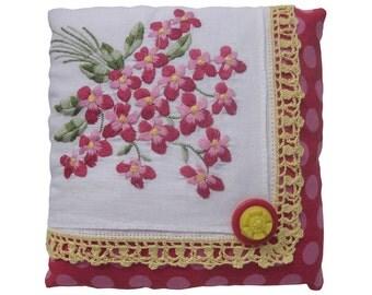 "Lavender Sachet, Repurposed Vintage Handkerchiefs, Embroidered Red + Pink Violets, 6"" Square"