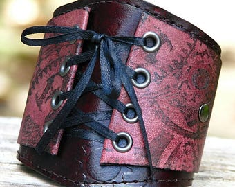 Womens Mahogany Leather Corset Wrist Wallet Cuff with Secret Pocket with Steampunk Gears - Made to Order