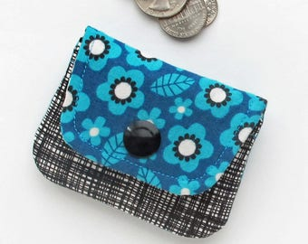 Coin Purse | Turquoise and black floral fabric mini pouch to use as change purse, or storage for jewelry or earbuds or small cords or items.