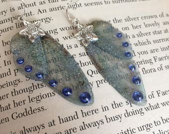 Celestial Whisper - Swarovski Crystal Glitter Fairy Wing Faery Earrings