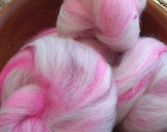 Deliciously Pink Rockin' Rolly batt set - soft mixed fibers for spinning, fiber arts