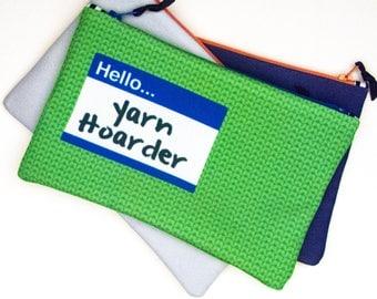 Zipper Bag, Hello Yarn Hoarder Green, Notions bag, knitting notions