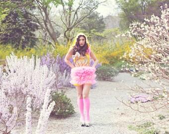 One of a Kind Rhinestone Pink Polka Dot Tutu Hooded PARTY One-piece Jumper Dress
