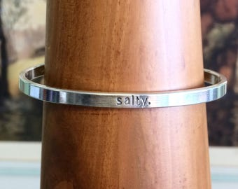 Hand Stamped Sterling Silver Salty Cuff