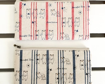 Flat  zipper pouches (bear red or blue stripe)
