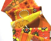 Vintage Fabric Remnants  - Orange and Yellow Assortment - Patchwork