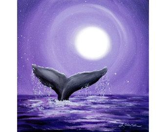 Whale Tail in Lavender Moonlight Wall Art Purple Moon Sea Mammal Seascape Ocean Night Stars Iverson Small Square Original Painting on Canvas
