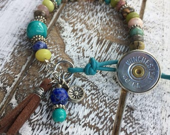 Multicolor Stone Beaded Bullet Bracelet with 20 Gauge Button Style Closure & Charms, Turquoise Leather, Turquoise Beaded Bracelet