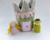 Felted wool castle with Prince and Princess wood peg dolls Waldorf ready to ship