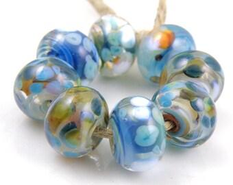 Fiesta - Handmade Artisan Lampwork Glass Beads 8mmx12mm - Blue, Green, Orange - SRA (Set of 8 Beads)