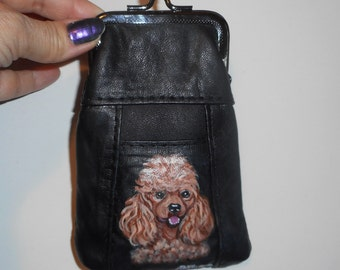Apricot Poodle Dog Hand Painted Leather Coin Purse clutch