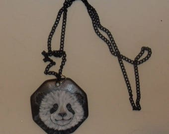 Panda Bear Necklace Painted Pendant OOAK