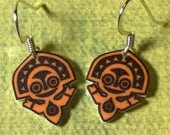 Polynesian Tiki earrings (White)