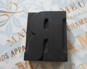 Letter R Antique Letterpress Wood Type Printers Block