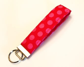 Red and Pink Polka Dot Wristlet Key Fob