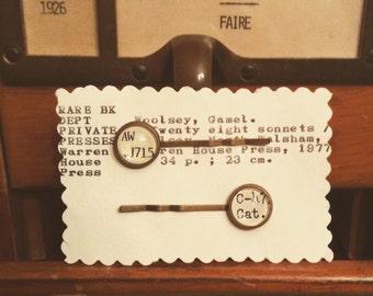 Library Card Catalog Hair Pins / Literary Jewelry / Bobby Pins / Librarian Gift / Bookworm Gift Idea / Bookish Hair Pins / Stocking Stuffer