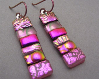 Magenta pink patchwork dichroic glass earrings hypo-allergenic pink niobium ear wires tiny strips all pink fuchsia bright drop earrings