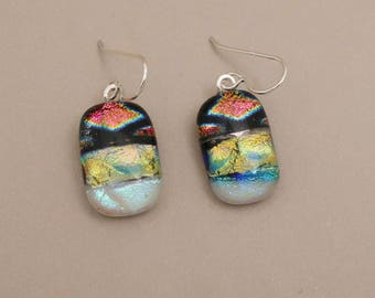 Gold Pink Magenta patchwork dichroic glass earrings sterling silver ear wires fused glass jewelry dichroic glass jewelry dangle earrings