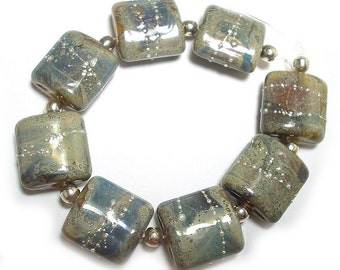 Handmade Glass Lampwork Beads,  Grey Ghost Nuggets