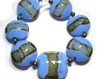 Periwinkle Twists Lentils, Handmade  Glass SRA  Lampwork  Beads,