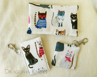 Cats Pouch Set of 3 - Insulated Lip Gloss Holder with swivel clip, Keychain Earbud Case, and Travel Pocket Tissue Cover - pet lover gift