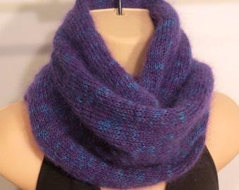 Hand Knit Wool Mohair Moebius Scarf purple blue gray