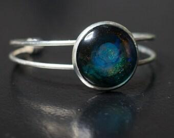 Deep space hand-painted adjustable bangle bracelet