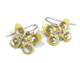 Butterfly Earrings Colorful and Sparkling Yellow