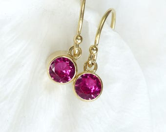 Ruby Earrings in 18ct Gold | July Birthstone | Handmade in the UK