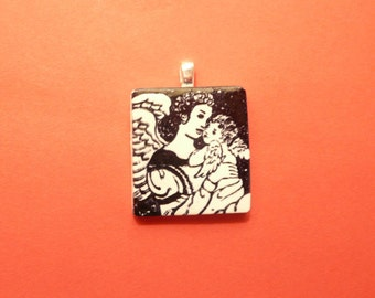 Christmas Jewelry, Angel Pendant, Mother and Baby Angels, Optional Necklace, Faith Jewelry, Guardian Angel, Mom To Be Gift, New Mother Gift