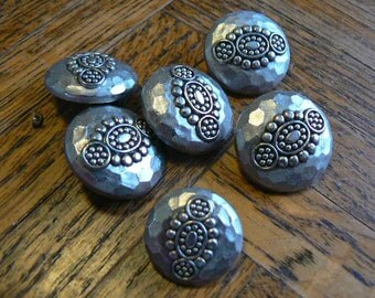 Vintage Silver plastic Buttons (set of 6)