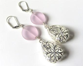 Long Pink Sea Glass Earrings, Sea Glass Teardrops, Long Silver Filigree Fashion Earrings, Sea Glass Jewelry, Pastel Pink, Dainty Lever Back