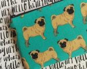 Pug print zipper pouch - Dog lovers bag - Under 10 gift
