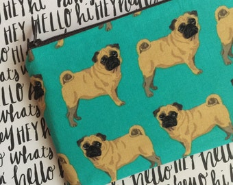 Pug print zipper pouch - Dog lovers bag - Under 10 gift