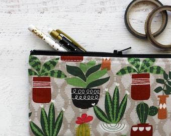 Cactus pencil pouch - cactus pencil bag - planner bag - southwestern bag - cactus bag - pen pouch - BUJO accessories bag - cactus lover gift