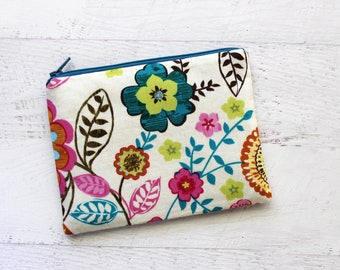 Bohemian floral pouch - small zipper pouch - floral makeup bag - gift idea for new mom