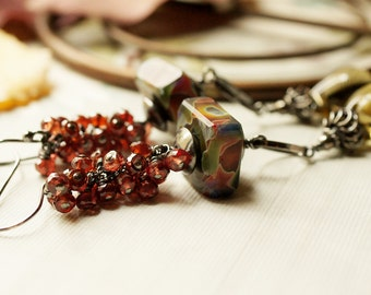 Tapestry cluster Chrome Pyrope Garnet Smokey Lemon Quartz cold worked Boro Lampwork Sterling Silver Earrings