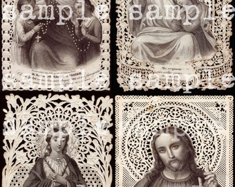 instant Digital Download > Rare Antique French Paper Lace Holy Prayer Card > Digital Collage Sheet > Catholic > Saint Jesus > Sacred Hearts