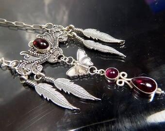 Victorian Garnet Butterfly Necklace Pendant sterling silver Scrollwork Chandelier feathers artisan steampunk