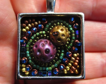 Space Nugget Pendant - Polymer Clay and Bead Embroidery