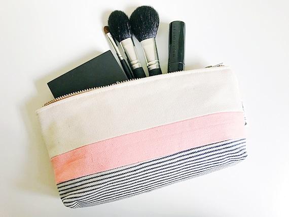 Zipper Pouch, Canvas Zipper Pouch, Make up Bag, Cosmetic Pouch, Canvas Toiletry Bag, Cotton Canvas Bag, Makeup Pouch