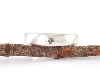 Simplicity Ring with Gray Rough Diamond in Palladium Sterling Silver - size 4 3/4 - Ready to Ship