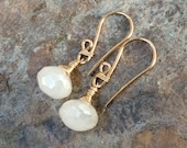 Pearl CHALCEDONY earring, gold filled, white gemstone earring, bridal earrings, handmade artisan jewelry, Angry Hair Jewelry