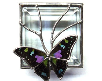 Stained Glass Box with Real Purple Spotted Swallowtail Butterfly and Clear Beveled Glass - Wildlife Gifts - Jewelry Storage