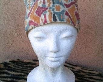 Vintage 1980s Hat Tribal Cap Boho Hippie Ethnic Cotton 2015106