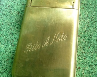 Vintage 1940s Message Pad 40s Rite-A-Note Brass Note Pad Desk Accessory Wall Hanging