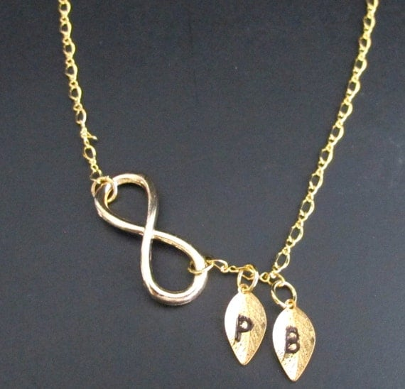Gold Infinity Initial Necklace, Two initial infinity necklace, gifts for best friends, Bridal gift, Anniversary Gift, Free Shipping In USA